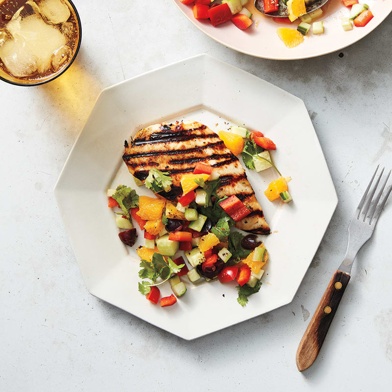 Photo of Chicken with cucumber, orange, and olive salad by WW