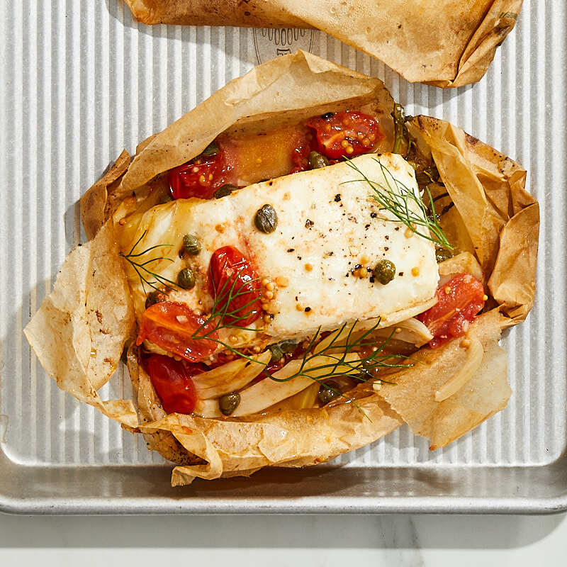 Photo of Tarragon and white wine halibut en papillote with tomatoes, fennel, and capers by Daphne Oz by WW