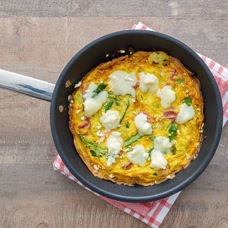 Photo of Ham and goat cheese frittata with spring vegetables by WW