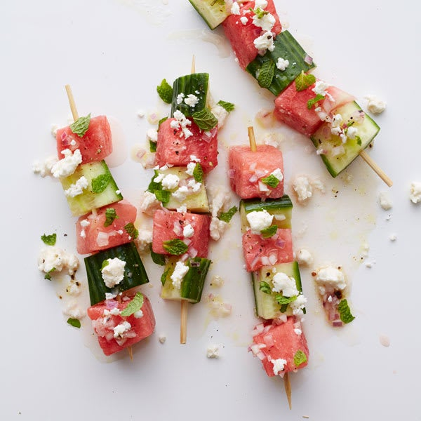 Photo of Watermelon-cucumber skewers with feta & mint by WW