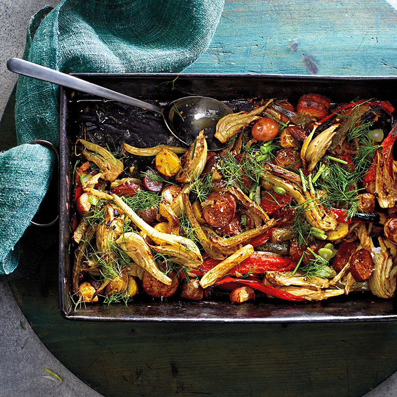 Photo of One-pan roasted fennel with potato, peppers, and chicken chorizo by WW