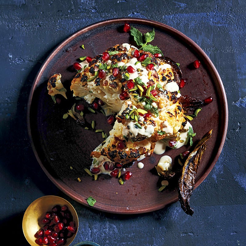 Photo of Whole Roasted Cauliflower with Tahini, Mint, Pistachios and Pomegranate Seeds by WW