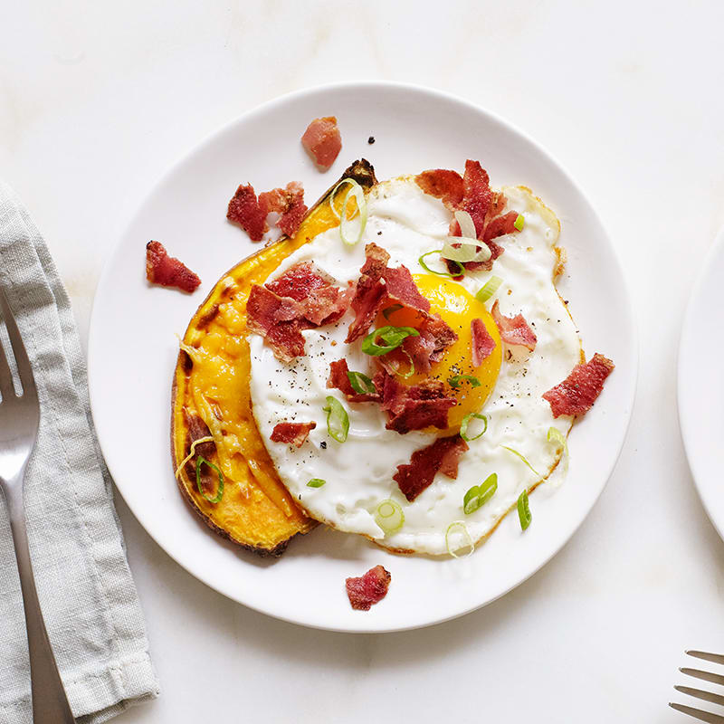 Photo of Bacon, egg, and cheese sweet potato toast by WW