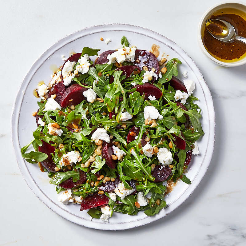 Photo of Beet, goat cheese, and arugula salad by WW