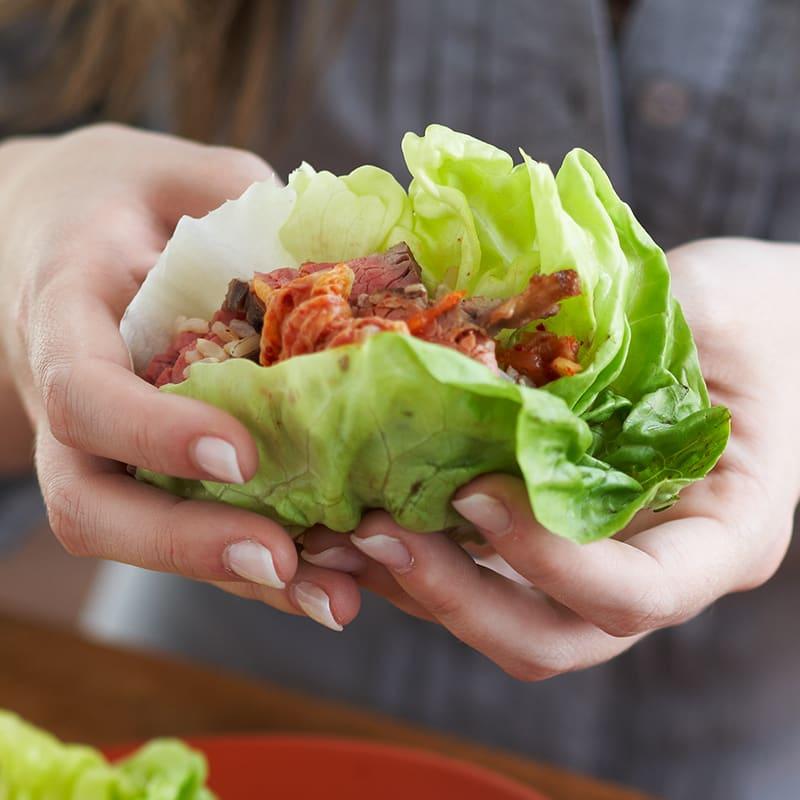 Photo of Korean-style steak and kimchi wraps by WW