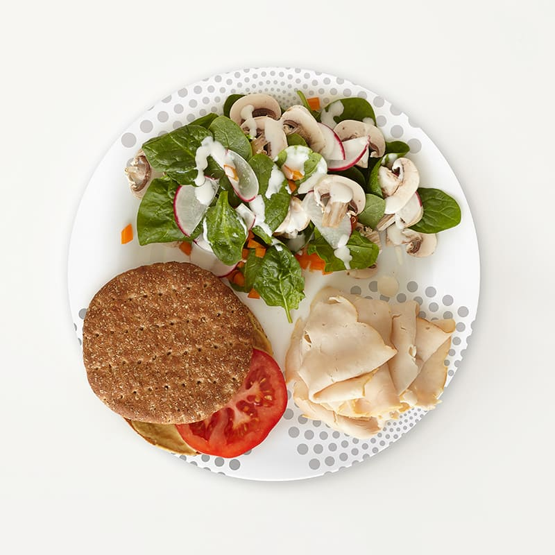 Photo of Portion Plate Turkey Sandwich and Side Salad  by WW