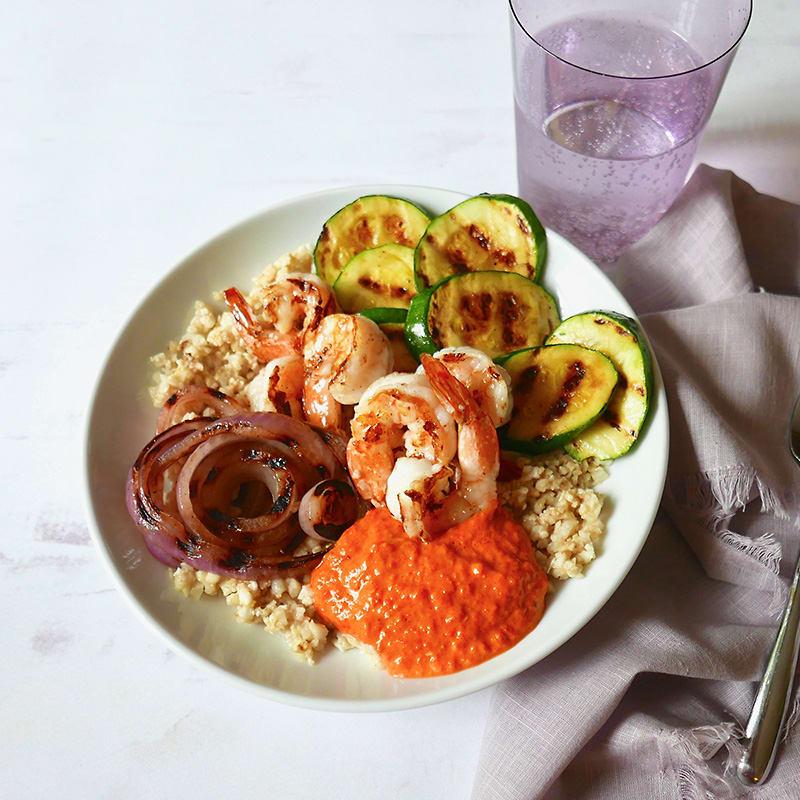 Photo of Cauliflower rice bowl with grilled shrimp & romesco by WW