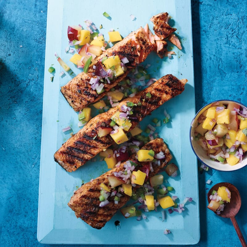 Photo of Chile-rubbed salmon with fruit salsa by WW