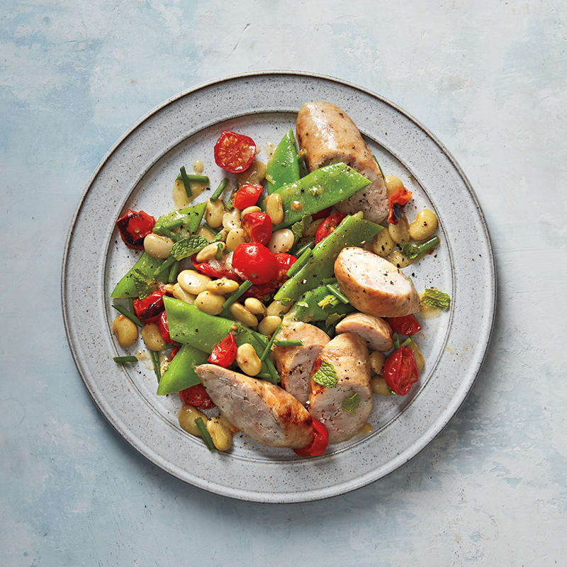 Photo of Chicken sausages with bean-and-tomato salad by WW