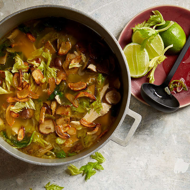 Photo of Chicken soup with toasted garlic, mushrooms and celery by WW