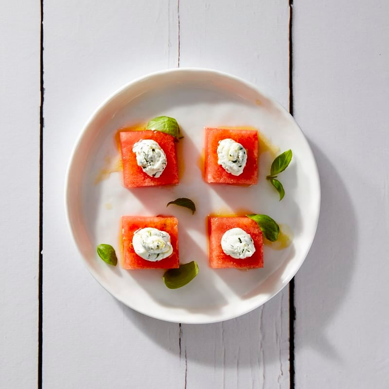 Photo of Watermelon-Goat Cheese Bites with Lime Dressing by Millie Peartree by WW