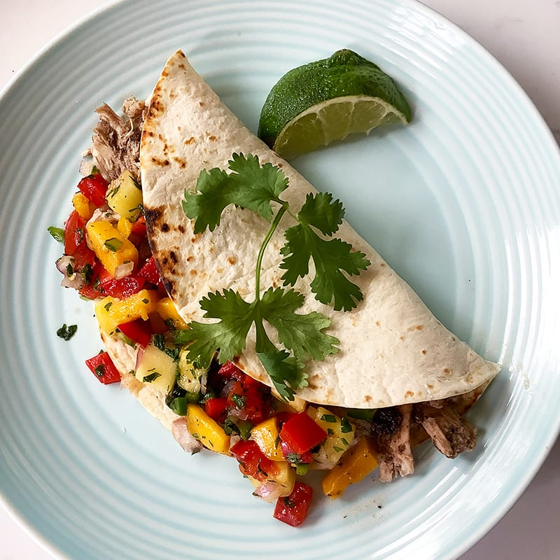 Photo of Jerk chicken tacos with mango-pineapple salsa by Chef Millie Peartree by WW