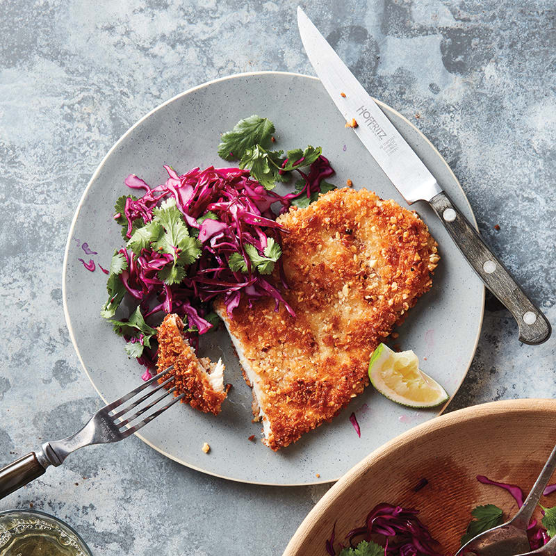 Photo of Almond chicken cutlets with tangy cilantro slaw by WW