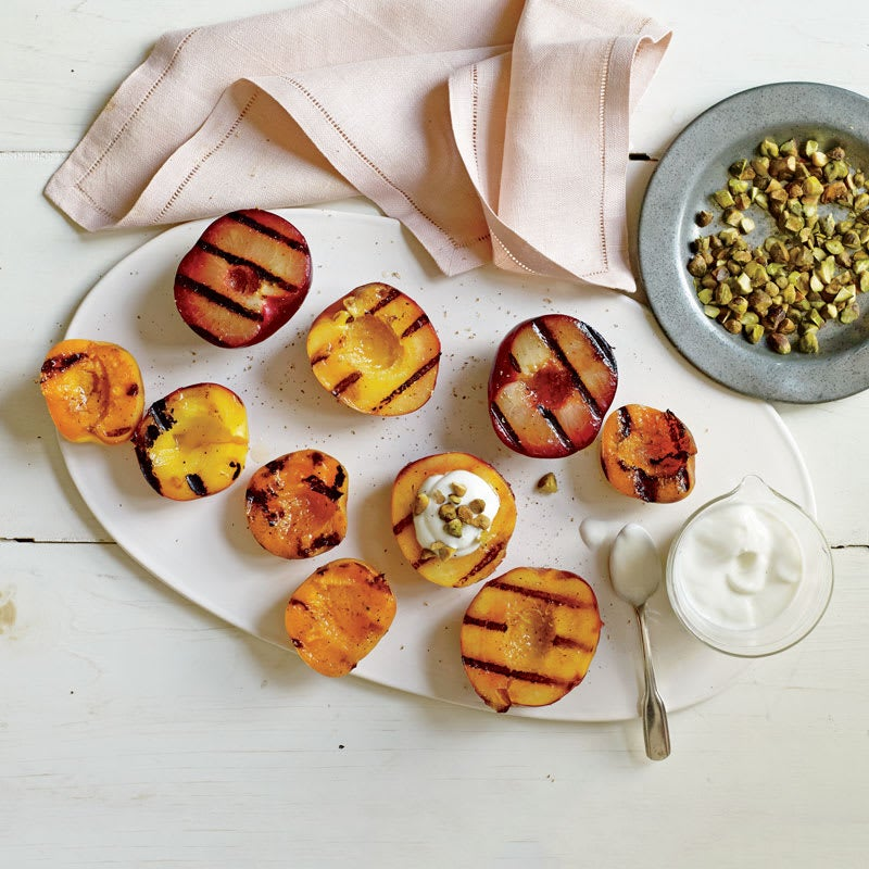 Photo of Grilled stone fruit with honey yogurt and pistachios by WW
