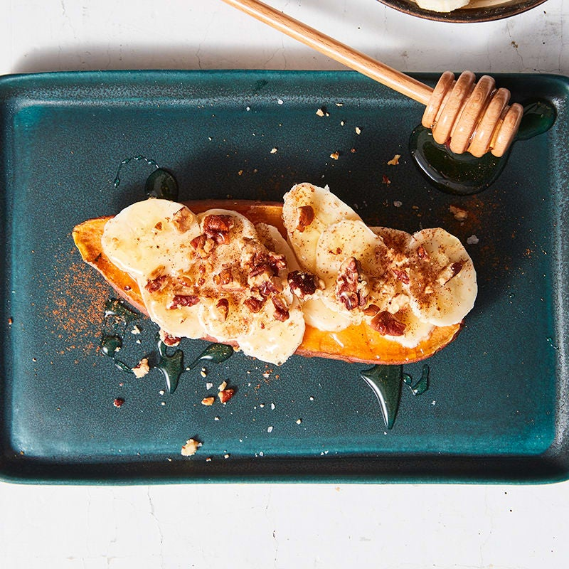 Photo of Sweet potato toast with banana, honey, & pecans by WW