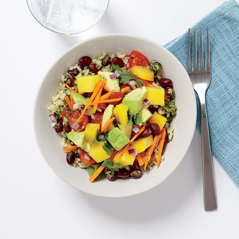 Photo of Brown rice-veggie bowls with ginger-lime dressing by WW