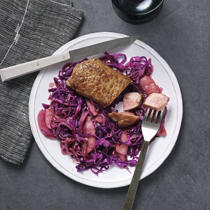 Photo of Cider-glazed pork chops with cabbage and apples by WW