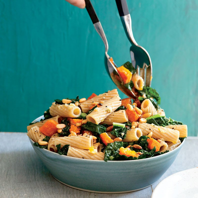 Photo of Rigatoni with roasted squash, kale, and pine nuts by WW