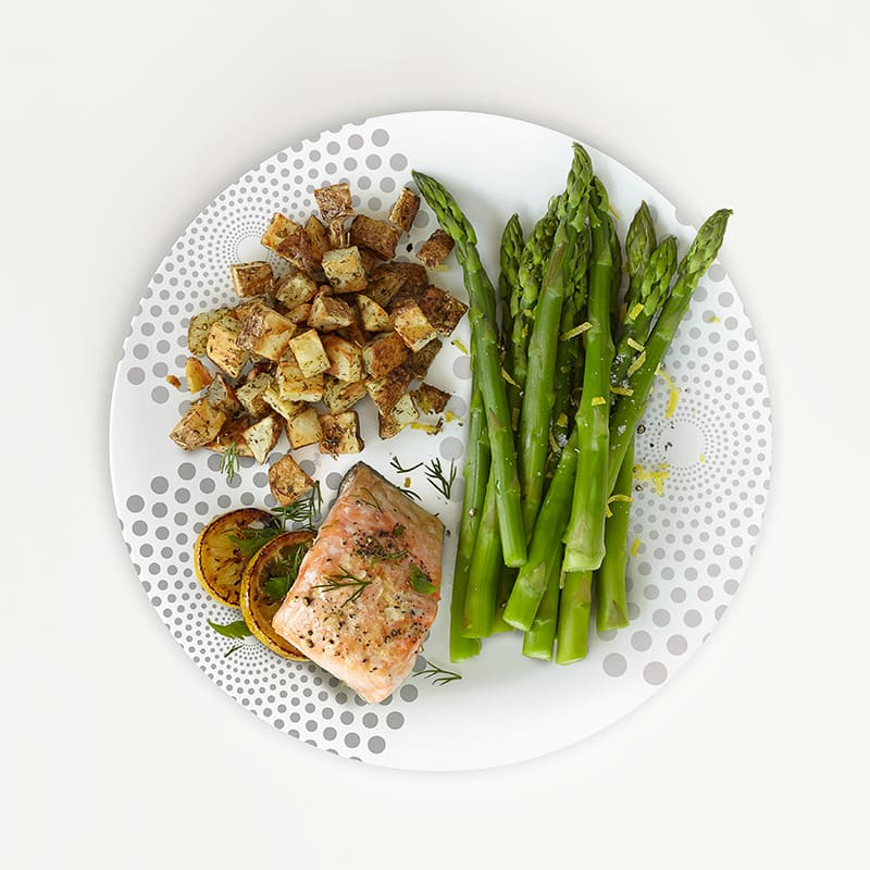 Photo of Portion Plate Salmon with Roasted Potatoes and Asparagus  by WW