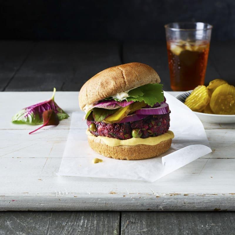 Photo of Chef Eric Greenspan's beet-and-pea veggie burgers by WW