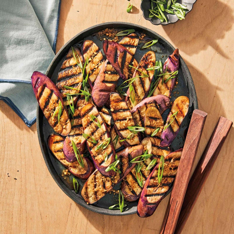 Photo of Grilled Japanese eggplant with scallions and ginger by WW