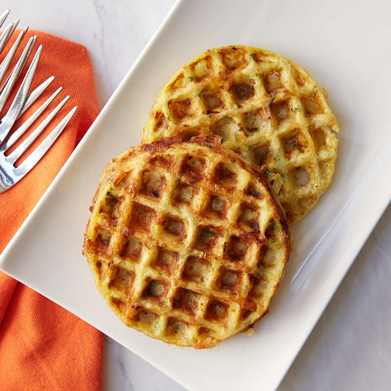 Photo of Scallion-cheddar hash brown waffles by WW