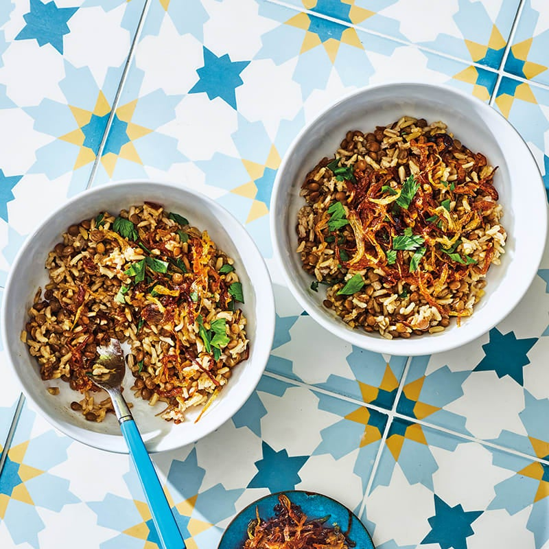 Photo of Mujadara (lentils topped with crispy caramelized onions) by WW