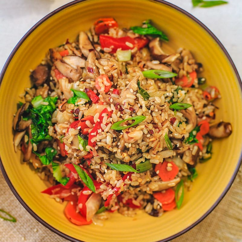 Photo of Brown rice with shiitake mushrooms, bok choy, and kimchi by Palak Patel by WW