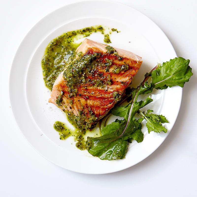 Photo of Salmon with homemade pesto sauce by WW