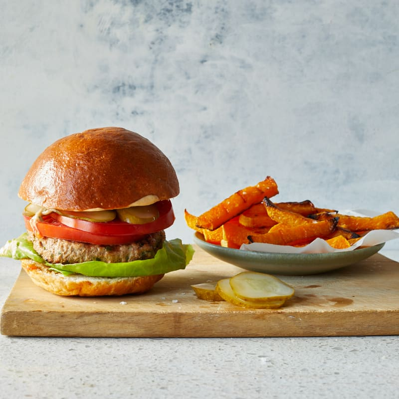 Photo of All-American turkey burger with squash fries by WW