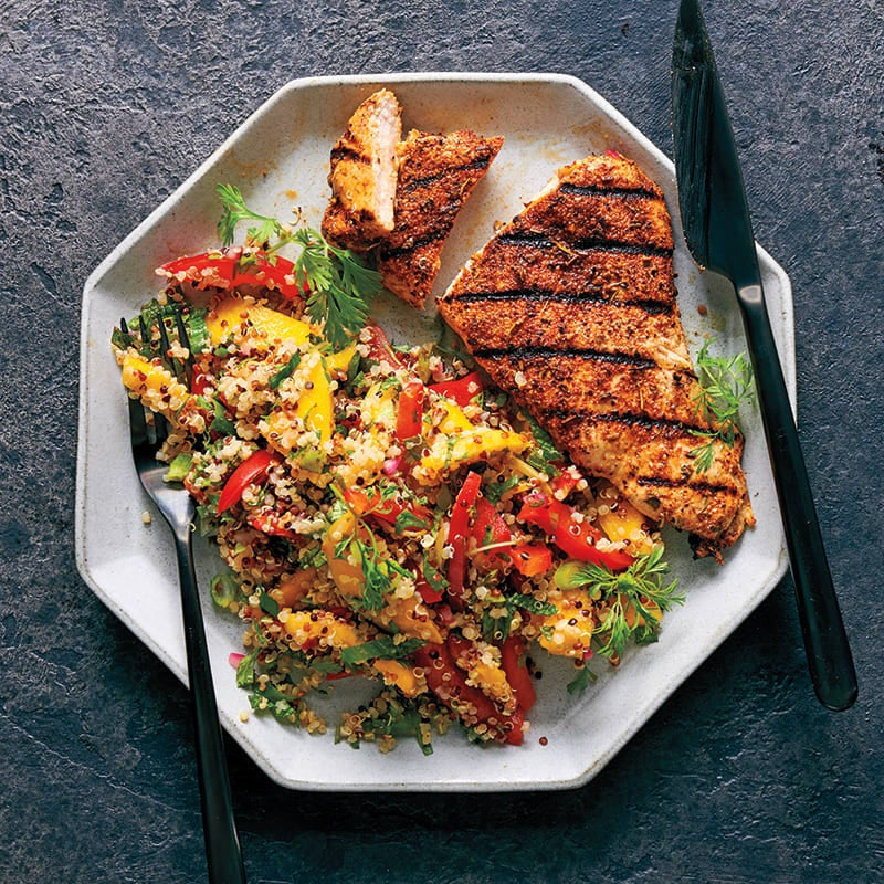 Photo of Jerk chicken with quinoa, mint, and mango by WW