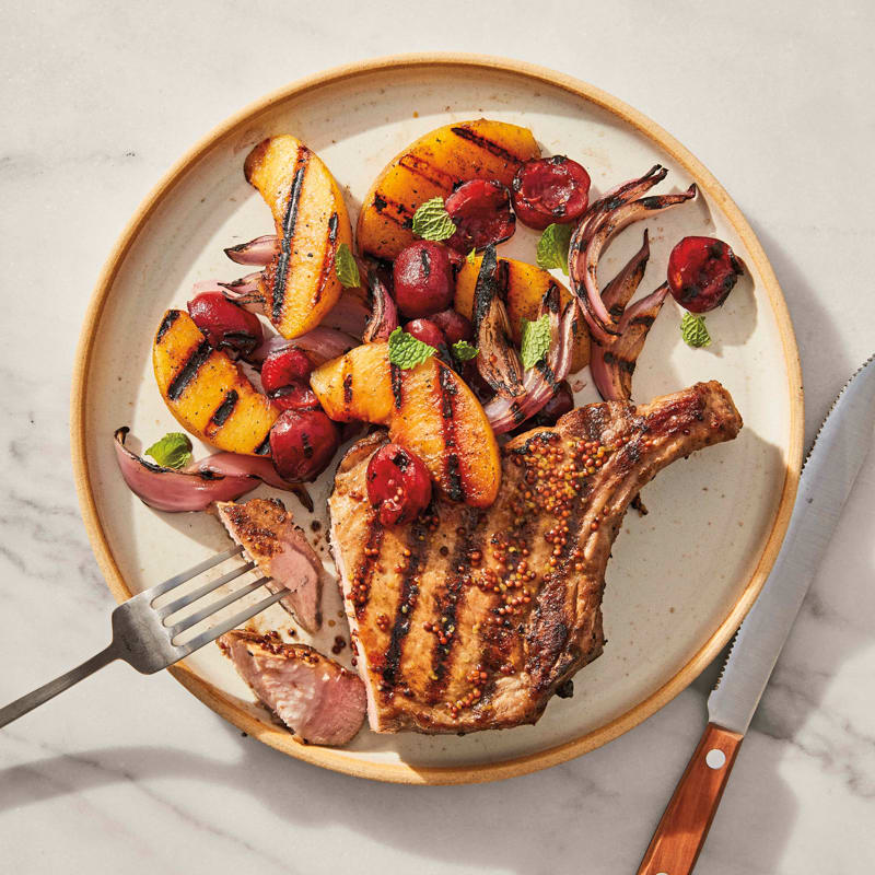 Photo of Grilled mustard-glazed pork chops with peaches by WW