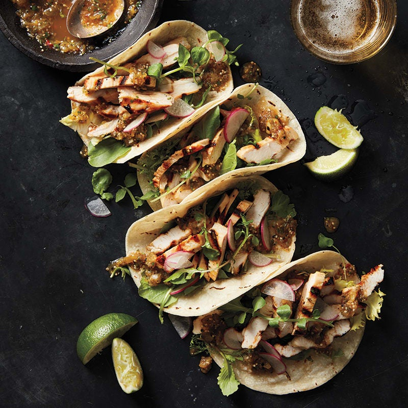 Photo of Soft turkey tacos with smoky tomatillo salsa by WW
