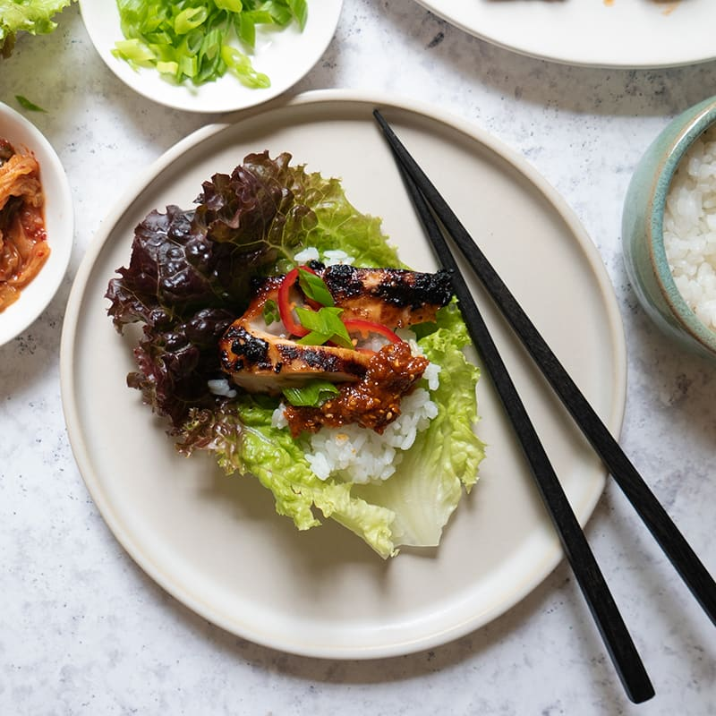 Photo of Korean grilled chicken lettuce wraps (ssambap) by WW