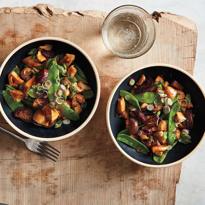 Photo of Chicken and eggplant stir-fry with snow peas by WW