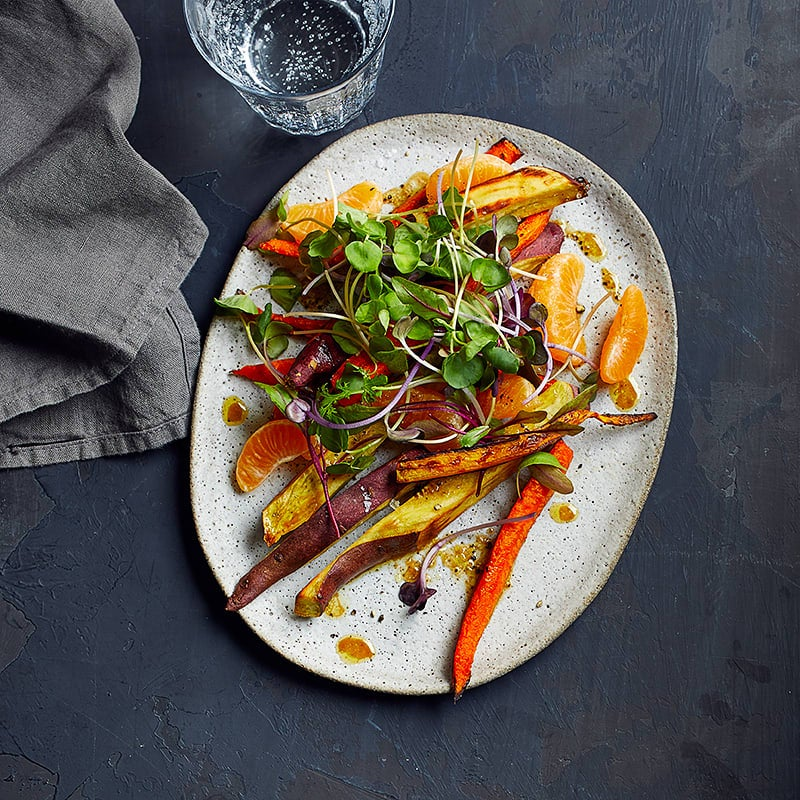 Photo of Roasted Korean yams and carrots with clementine-mustard drizzle by WW