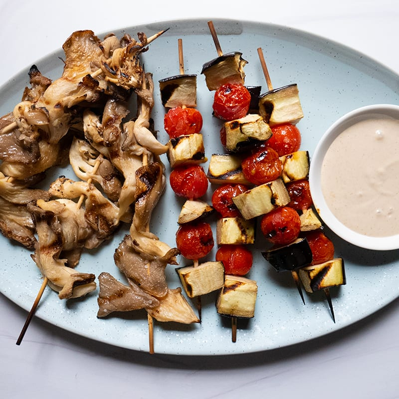 Photo of Grilled Oyster Mushroom and Veggie Skewers with Lemon-Tahini Drizzle by WW