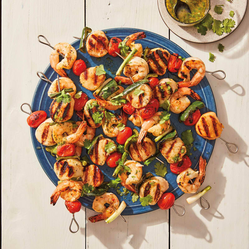 Photo of Grilled scallop and shrimp skewers with mojo sauce by WW