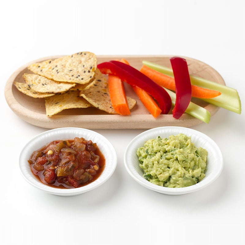 Photo of Tortilla Chips and Fresh Vegetables with Guacamole and Salsa by WW