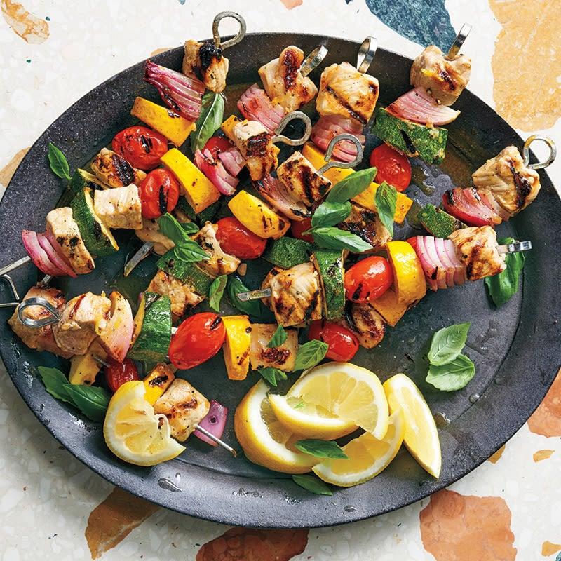 Photo of Lemon-basil pork and vegetable kebabs by WW