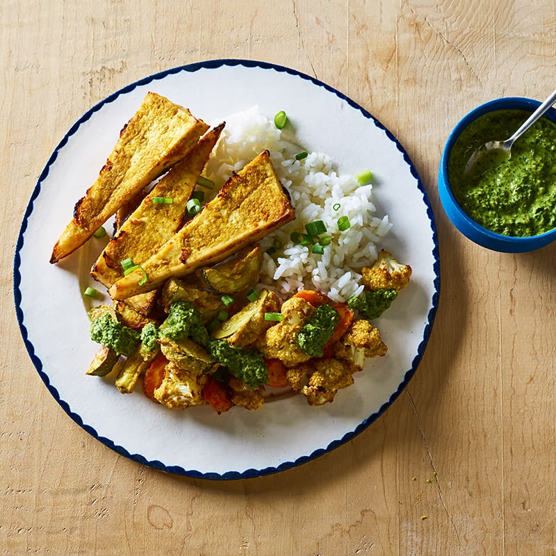 Photo of Tandoori Tofu and Mixed Vegetables with Basmati Rice and Cilantro-Lime Drizzle by WW
