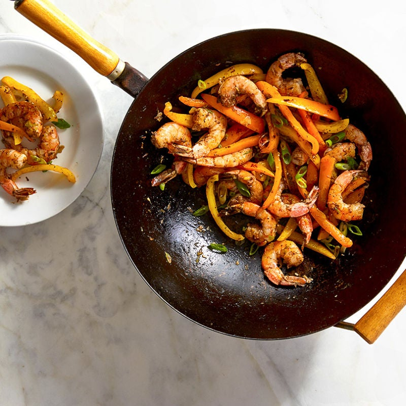 Photo of Stir-fried jerk shrimp and peppers by WW