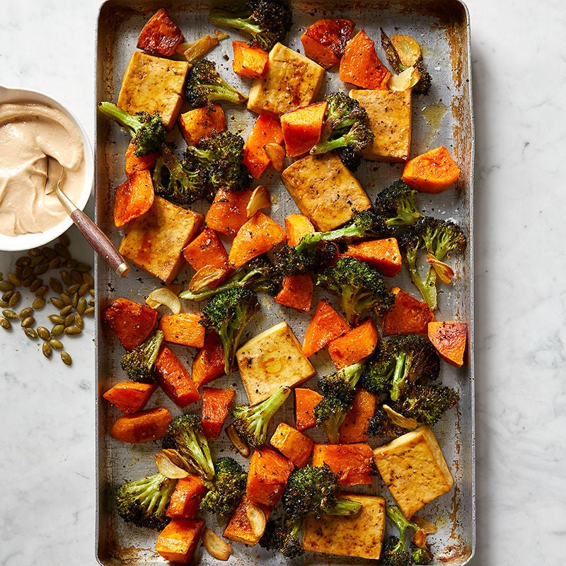 Photo of Tofu, broccoli, and butternut squash with creamy tahini sauce by WW