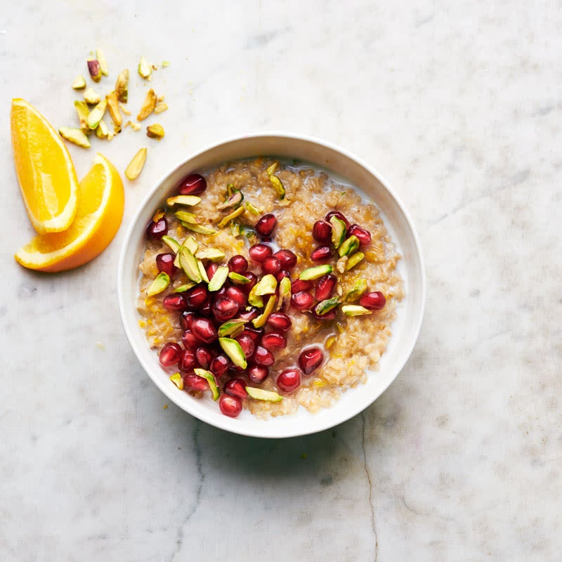 Photo of Irish steel-cut oats with pomegranate and pistachios by WW