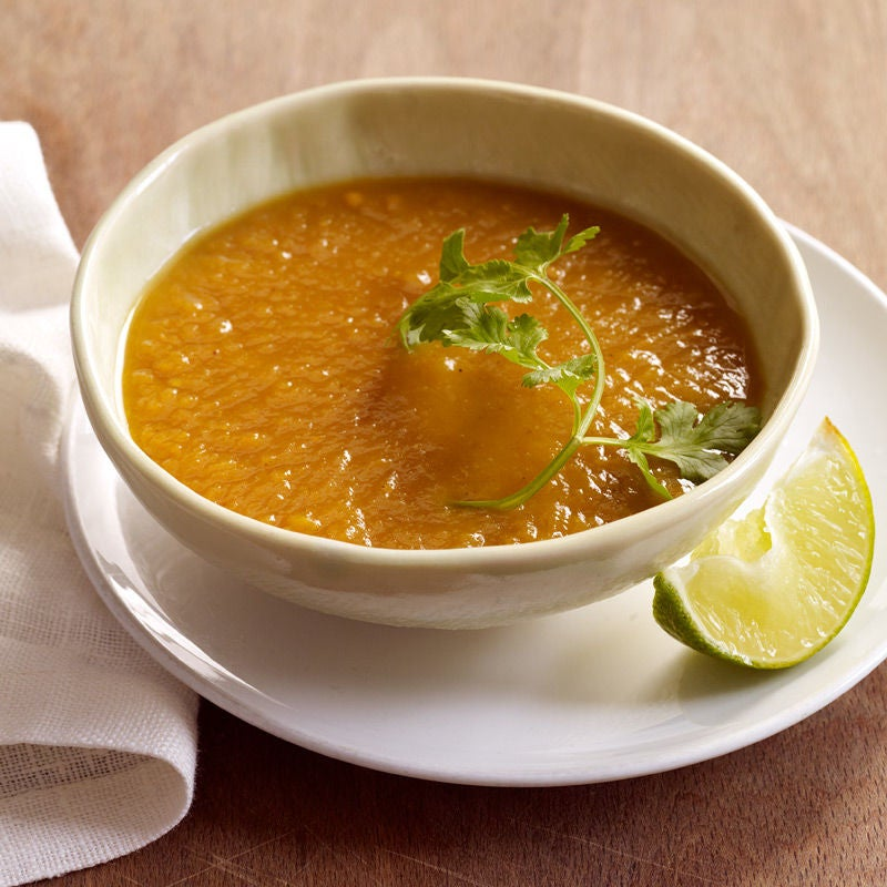 Photo of Curried sweet potato soup with lime and cilantro by WW