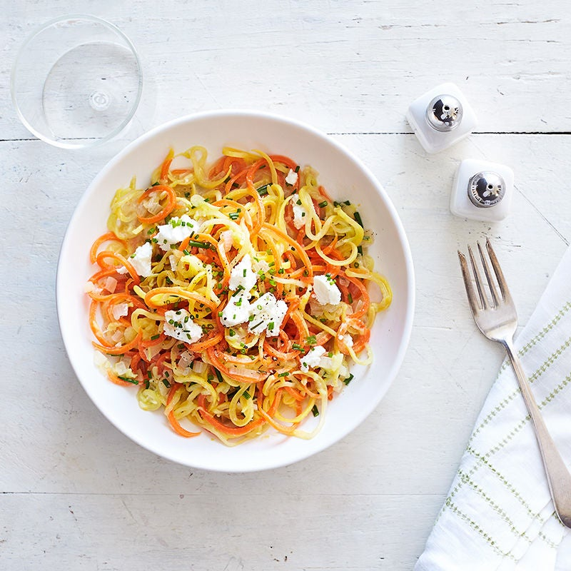 "Photo of Veggie ""pasta"" with lemon, chives, and goat cheese by WW"