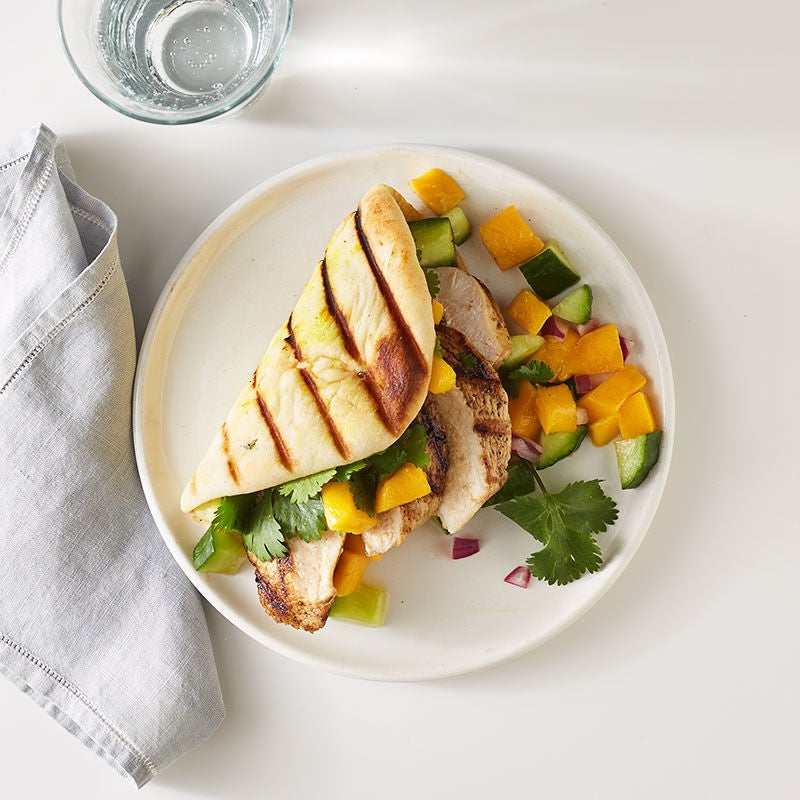 Photo of Curry Grilled Chicken Naan Sandwich with Mango Salsa by WW