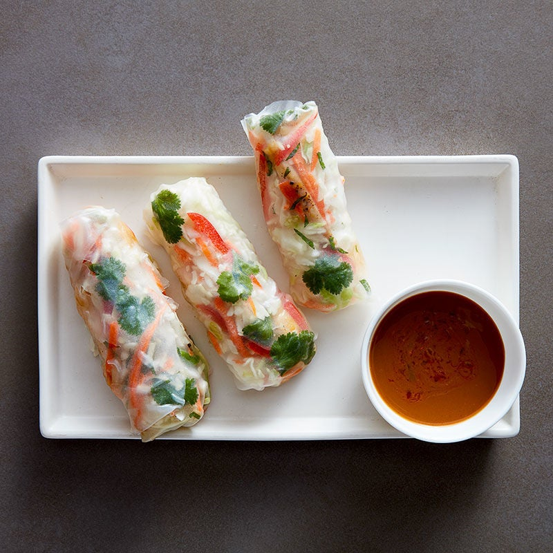 Photo of Chicken summer rolls with peanut dipping sauce by WW