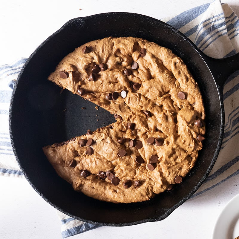 Photo of Peanut butter–chocolate chip skillet cookie by WW