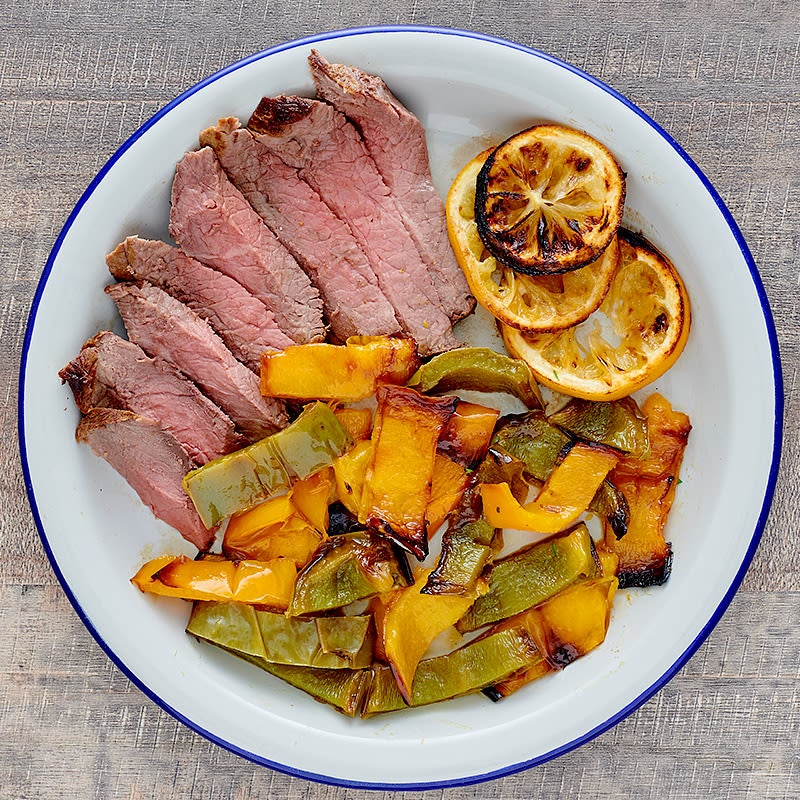 Photo of London broil with sweet onions and peppers by WW